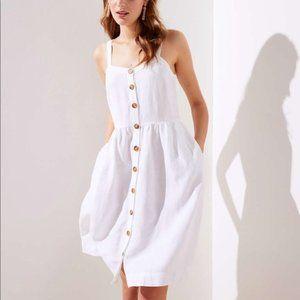 White Strappy Button Down Pocket Flare Dress